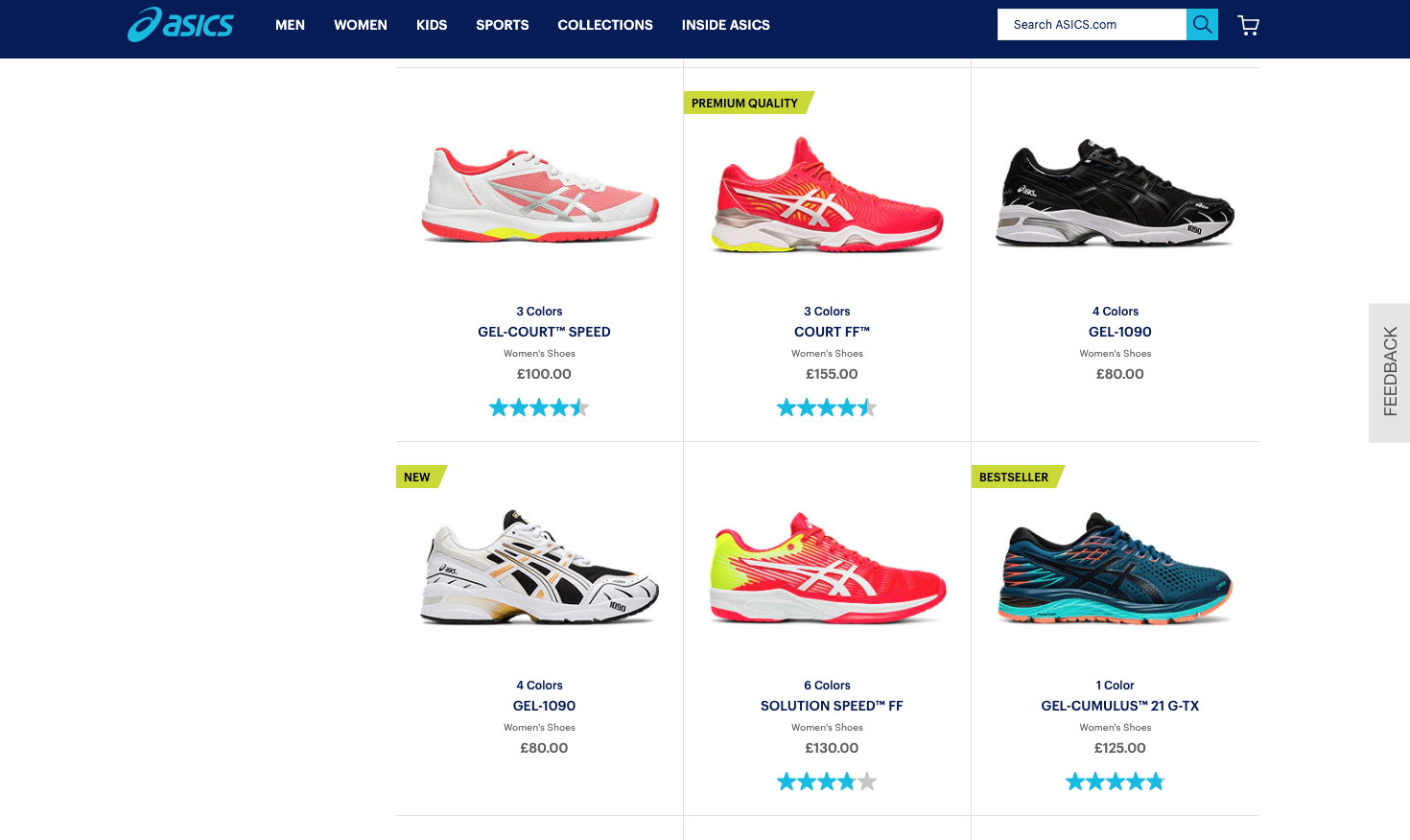 ecommerce product badging badges on the PLP asics