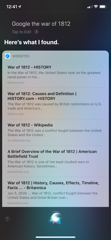 Siri Search UI for history
