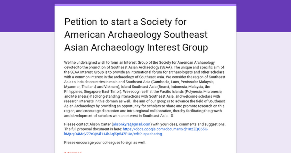 Petition to start a Society of American Archaeology Southeast Asian Archaeology Interest Group