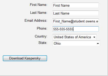 Screen Shot: Type in your informationa and click Download Kaspersky