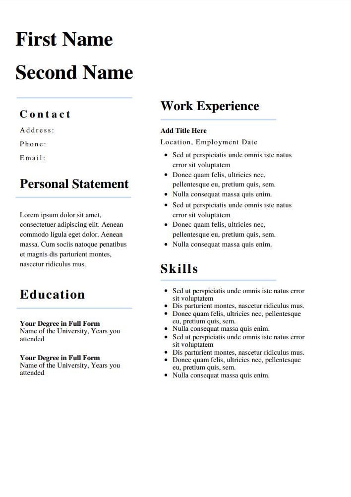 CV templates for firefighter