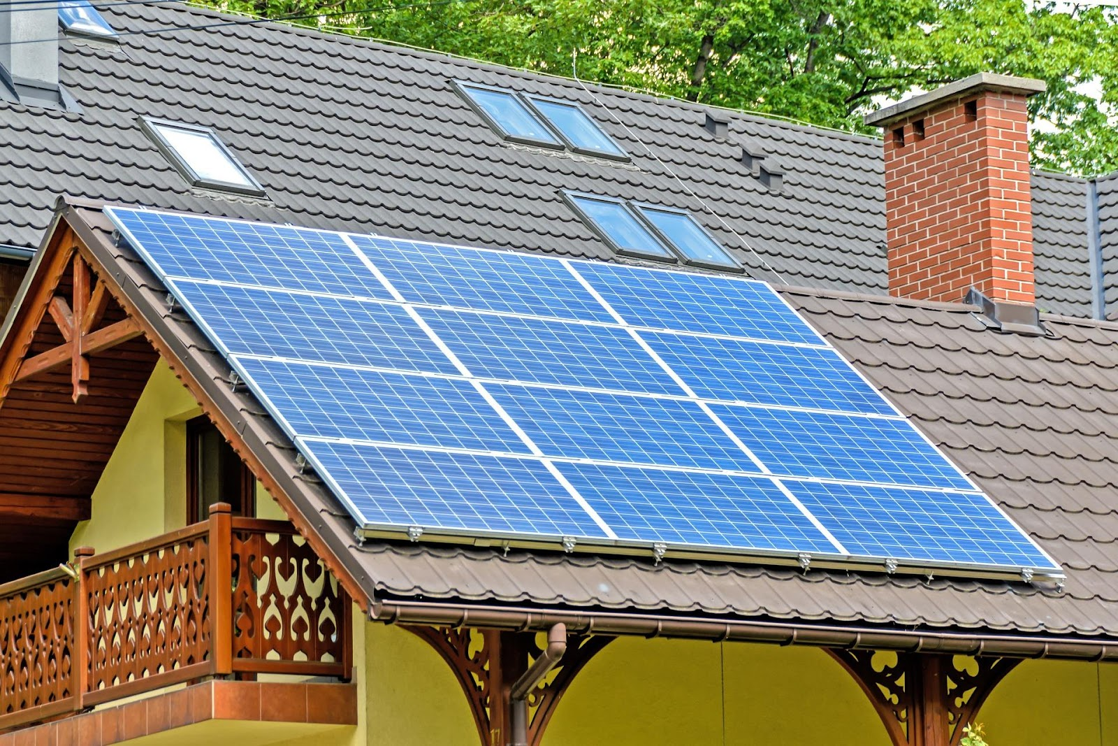 Solar panels on a roof