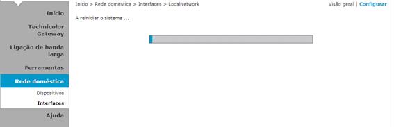 MEO Technicolor TG784n v3 Aguardar que o Router Reinicie para aplicar as novas definições