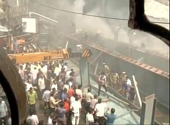 Rescue work gets underway after the Vivekananda Road flyover in Kolkata collapsed on Thursday. Photo: ANI