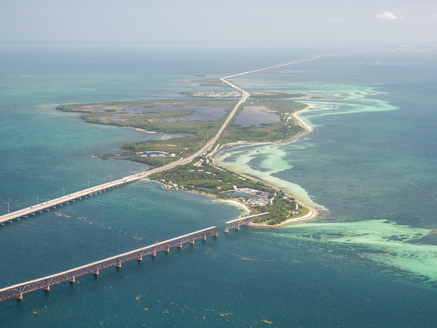An aerial image of the middle Florida Keys