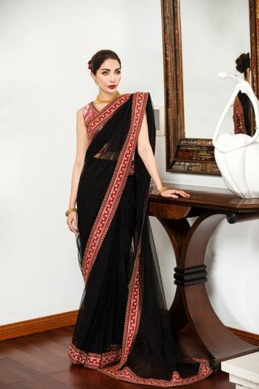 42101465-Resham Cotton,Jamawar & Net Luxury Unstitched Saree