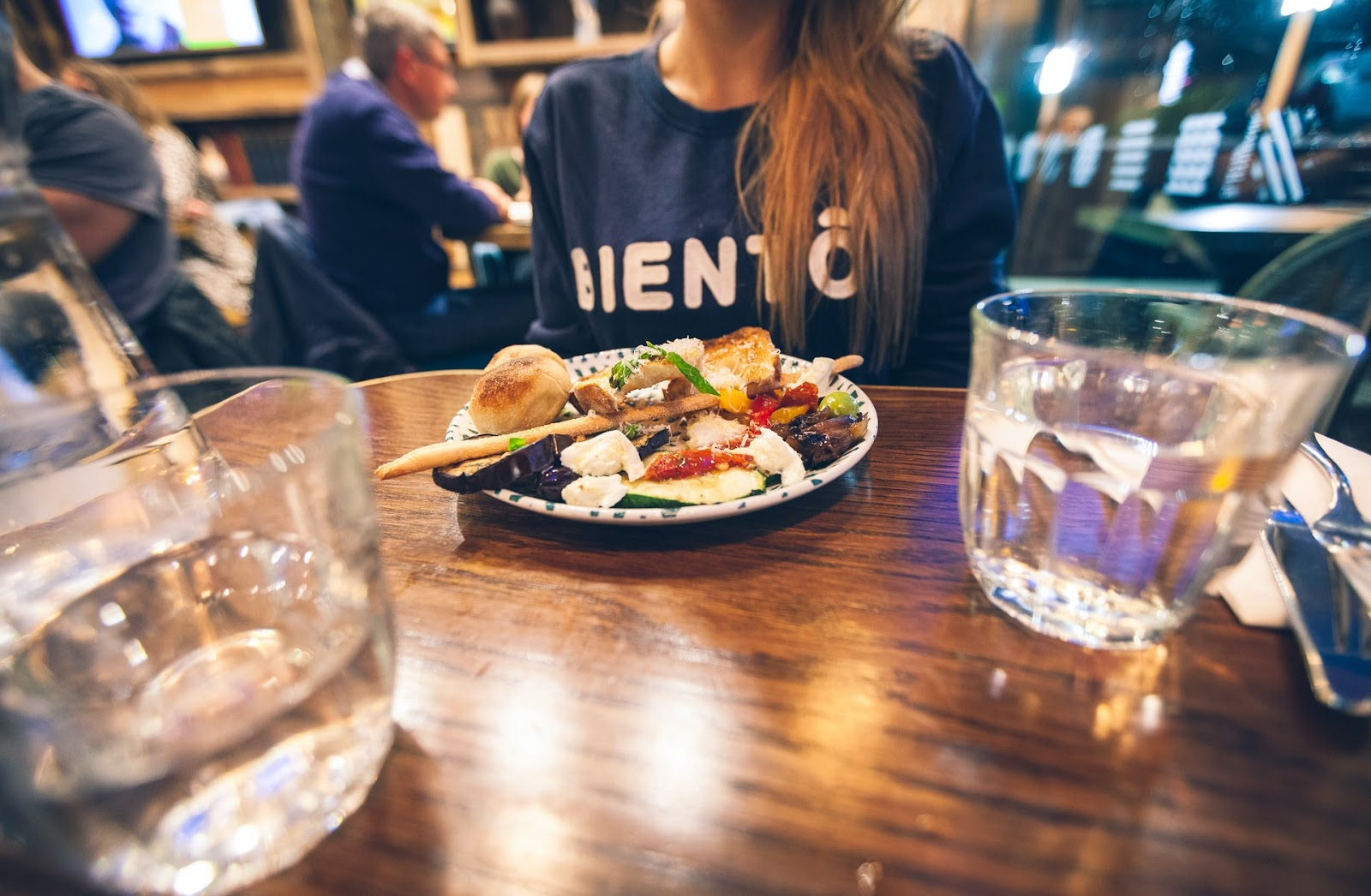 Image of person dining at restaraunt
