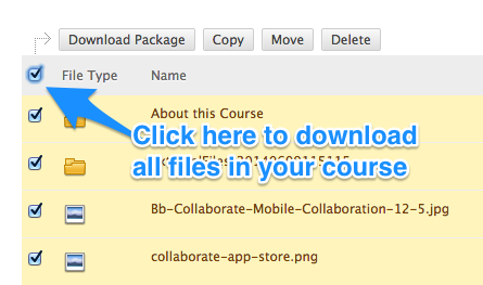 how do i download files from the blackboard course collection