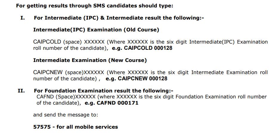 CA Result through SMS