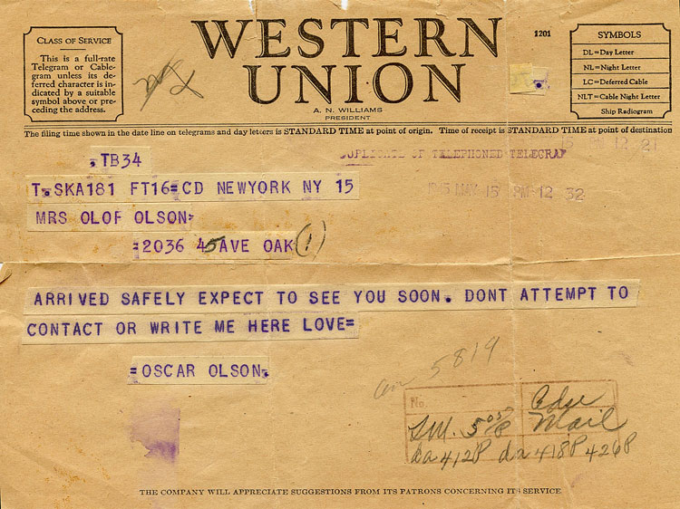 Telegram from Oscar to his parents dated May 15, 1945