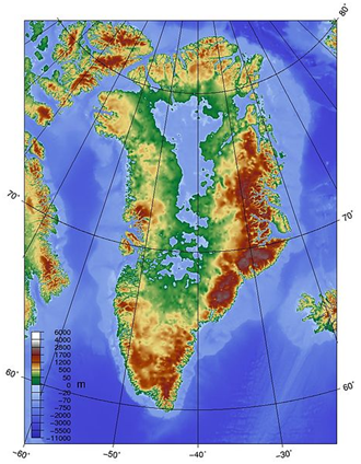Greenland topography