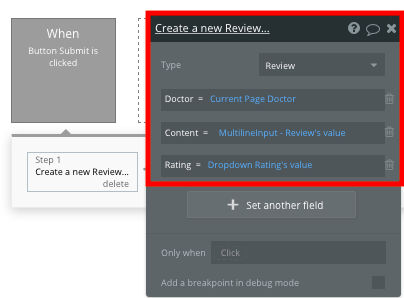 Creating a user-generated review in Bubble's no-code Zocdoc clone