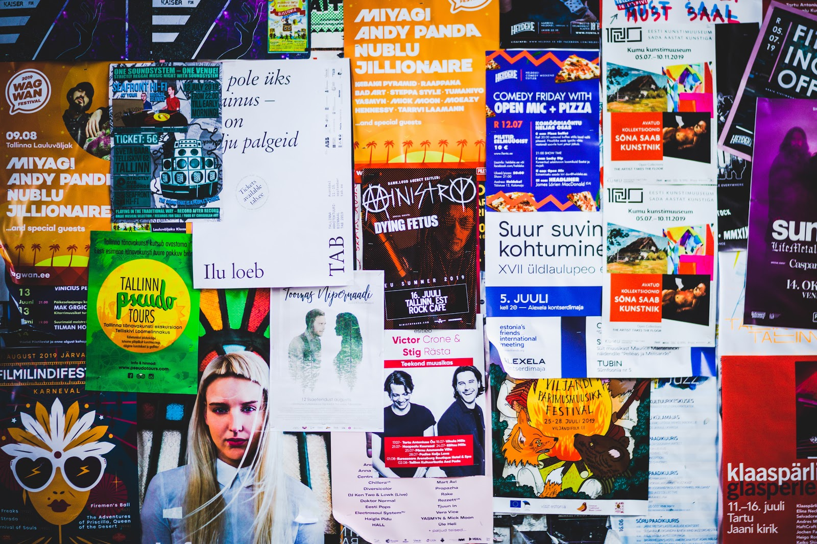 Wall of a posters and flyers
