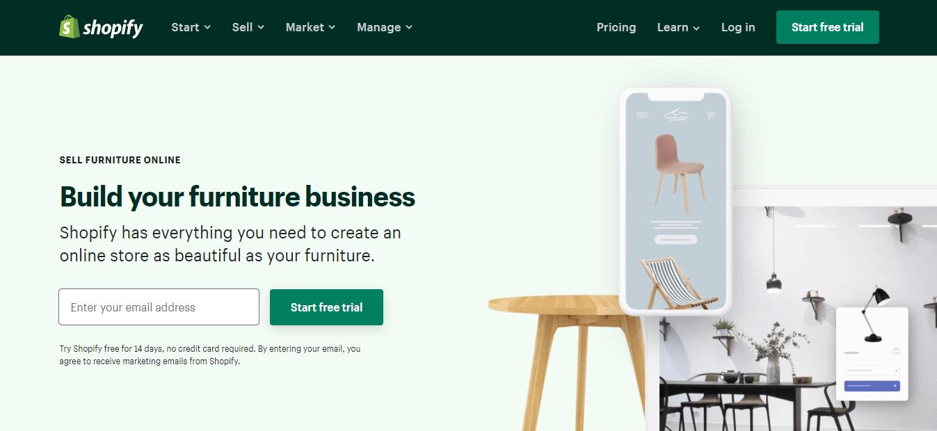 Shopify website appealing furniture businesses