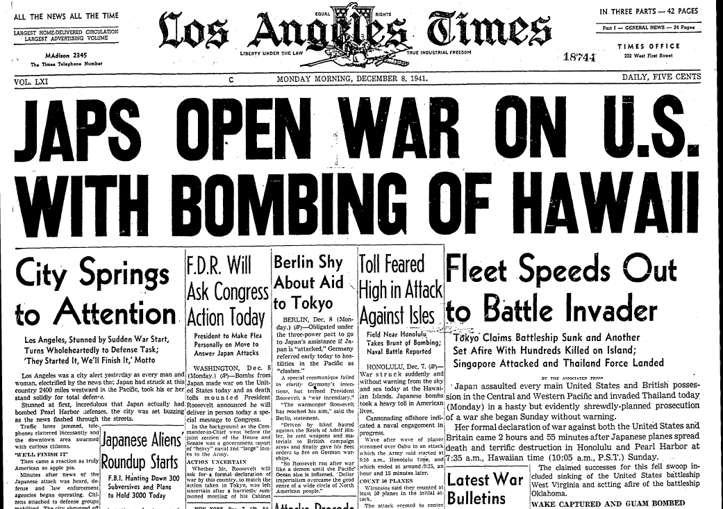 On The Front Page: A Look Back At Pearl Harbor