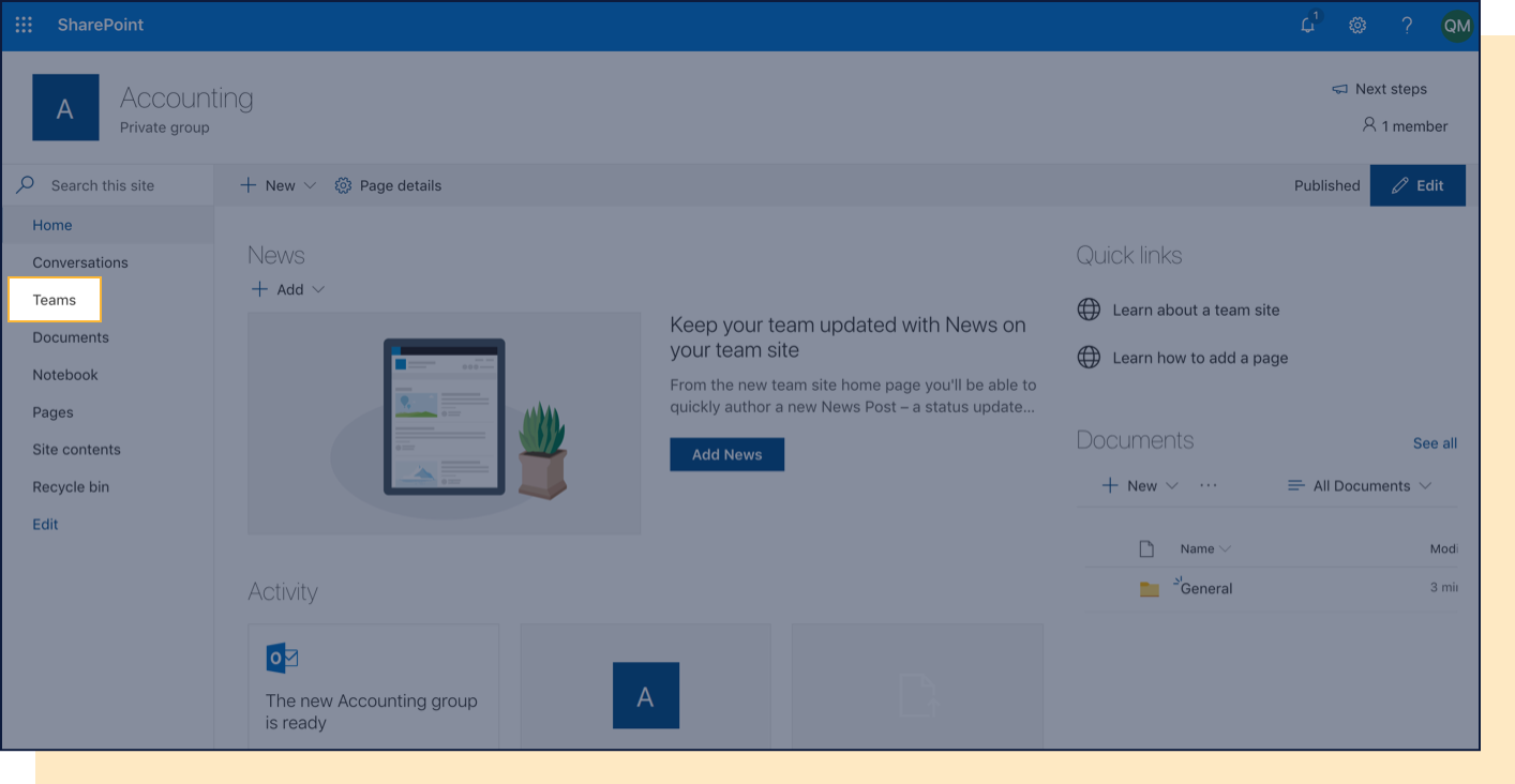 Screenshot with Teams tab in Sharepoint highlighted.