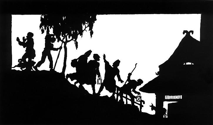 silhoutte of people and a house