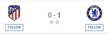 UCL DFS: Chelsea v Atlético Madrid (0-1, Chelsea)