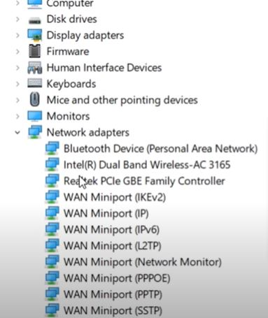 """expand the """"Network Adapters"""" option"""