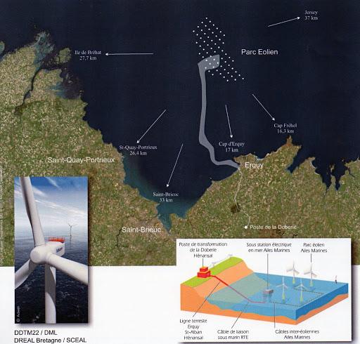 Carte du futur parc éolien de la baie de Saint-Brieuc