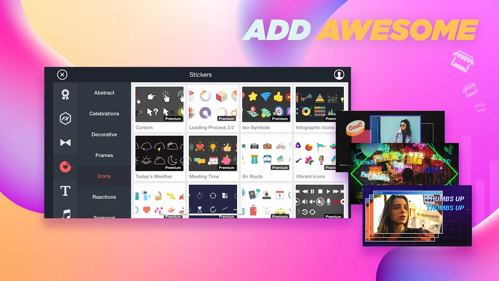 Download the more sticker, animations, sound effects, effects, graphics,  Transitions & more special effects.