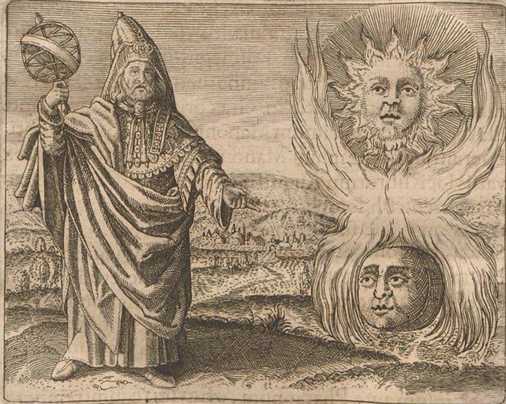 На гравюре изображен Гермес Трисмегист рядом с Солнцем, Луной и другими астрологическими символами