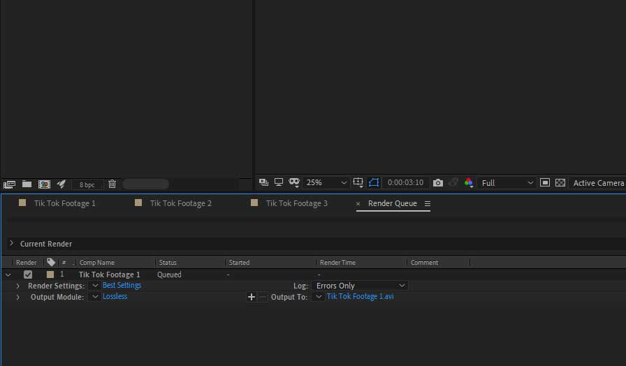 Select settings after effects