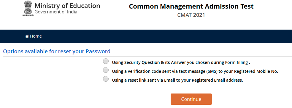 Options available for Reset CMAT 2021 Password