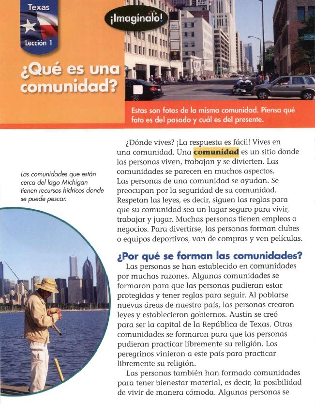 Page from Spanish-language social studies book: ¿Qué es una comunidad?