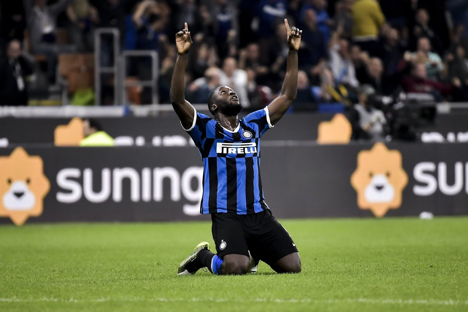 Inter Milan striker Romelu Lukaku celebrates scoring against Brescia in the Italian Serie A