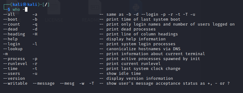 Which Linux command can be utilized to display your current login name? Answer: WHO. Source: nudesystems.com