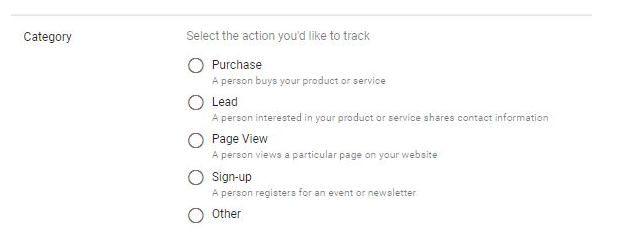 Five conversion tracking options in the Google Ads platform: purchase, lead, page view, sign-up, and other
