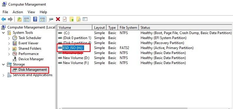 disk management format SD card