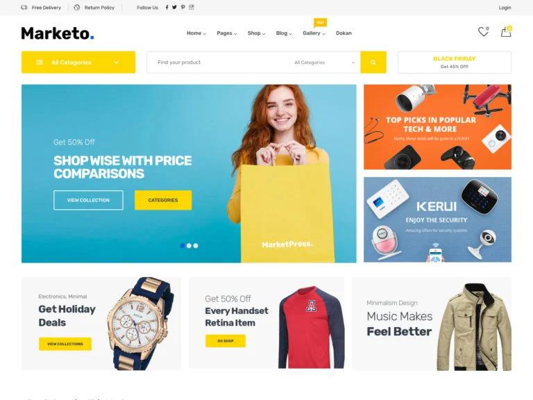 Wordpress ecommerce themes marketo