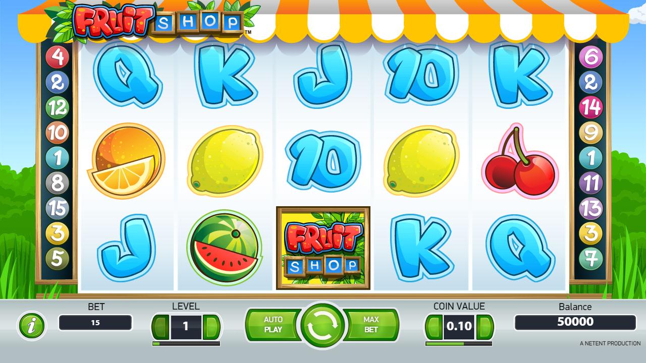 Megaways spēles piemērs Fruit Shop spēļu automātā kazino