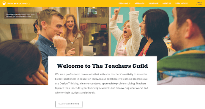 Teacher's Guild best website design award winner 2016
