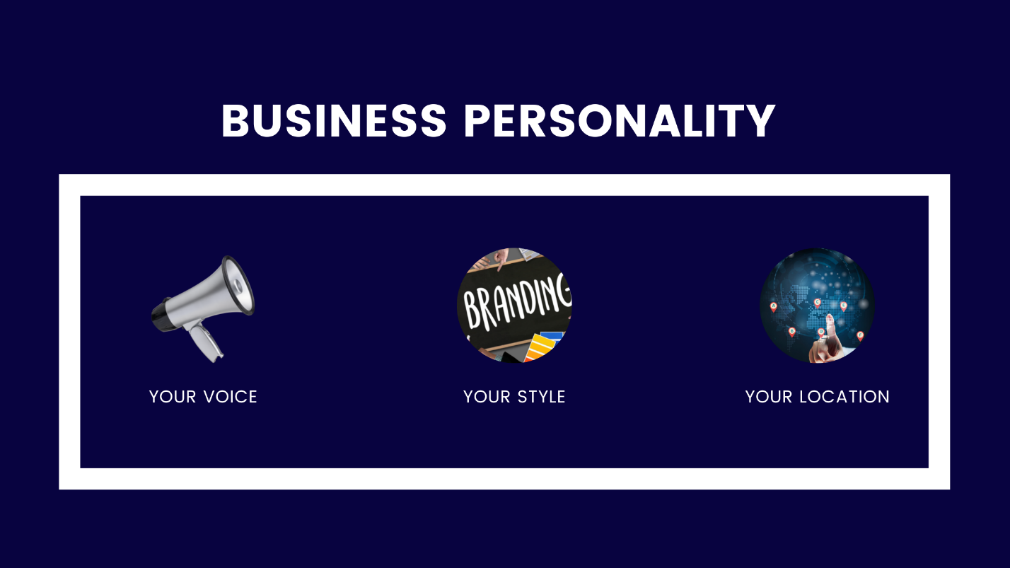 An Image showing your brand personality consist of your voice, your style, and your location.