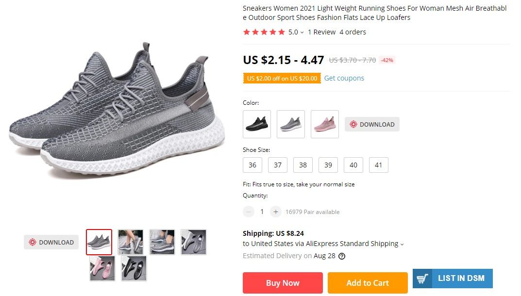 Avoid dropshipping shoes