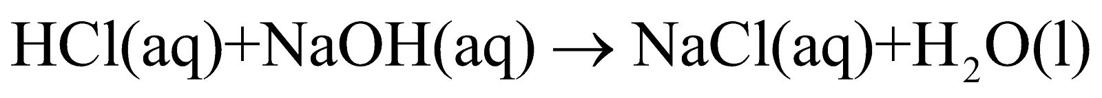 Molecular equation for reaction between water and sodium hydroxide