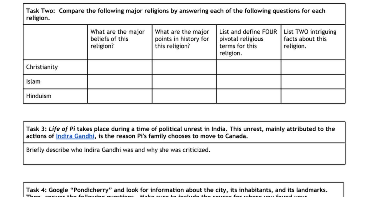 Life Of Pi Background Google Docs - List of major religions