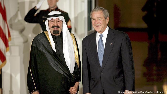 جرج دبیلو بوش و ملک عبدالله، پادشاه عربستان سعودی ـ ۱۴ نوامبر سال ۲۰۰۸ میلادی