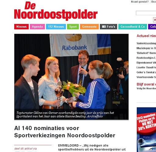 bericht over de sportverkiezingen op de website denoordoostpolder.nl
