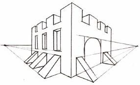 Як намалювати красивий замок олівцем побудова кутовий перспективи