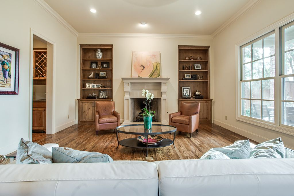 before living room west highland park dallas home renovation and staging