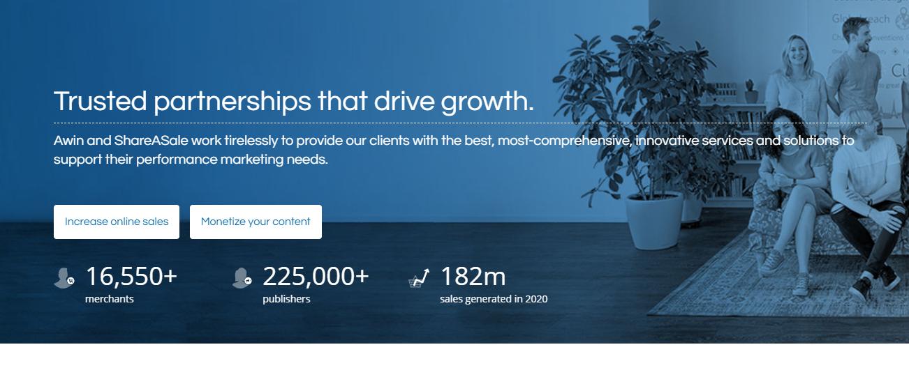 ShareASale homepage screenshot
