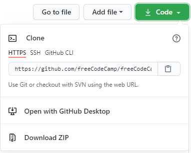 default view with an HTTPS address on GitHub