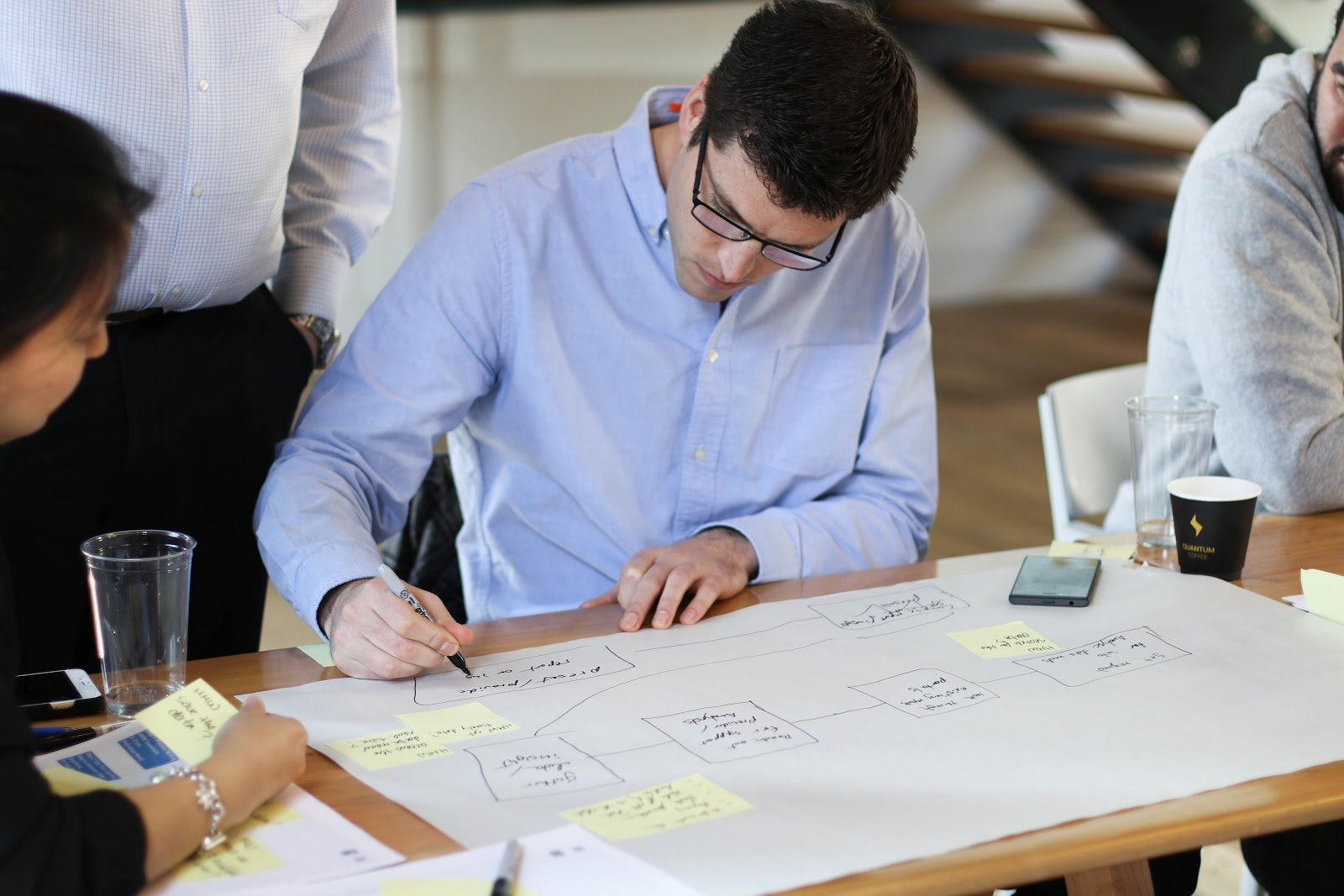 Man maps out ideas on paper with a team