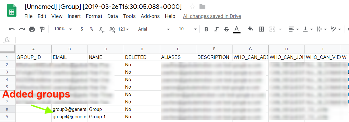 imported google groups spreadsheet.
