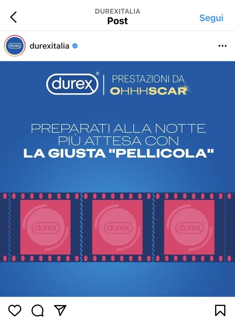 """Screenshot di un post della pagina instagram Durex Italia. Il meme è stato realizzato in occasione della notte degli oscar e mostra una striscia di contraccettivi targati durex  come se fossero immagini di una pellicola. La frase scelta è: """"preaprti alla notte più attesa con la giusta pellicola"""""""