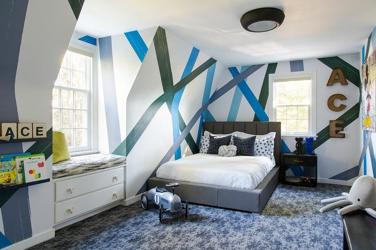 Design a Simple Pattern On the Wall Boys Bedroom Painting Ideas